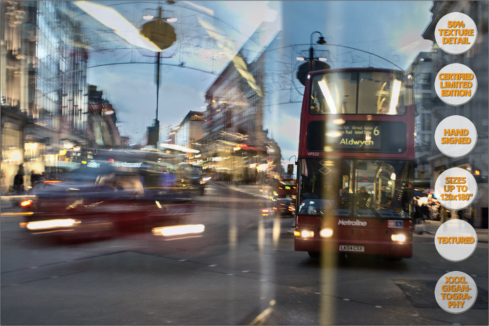 Buses at Oxford Circus, London, UK. | Print #3 | Print Detail at 50%.