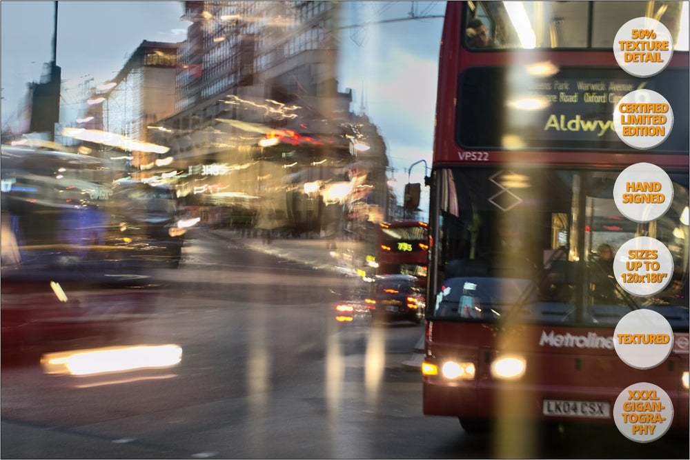 Buses at Oxford Circus, London, UK. | Print #3 | Print Detail at 100%.