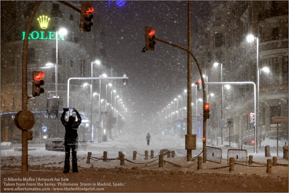 Gran Via during Filomena Winter Snow Storm, Madrid, Spain.