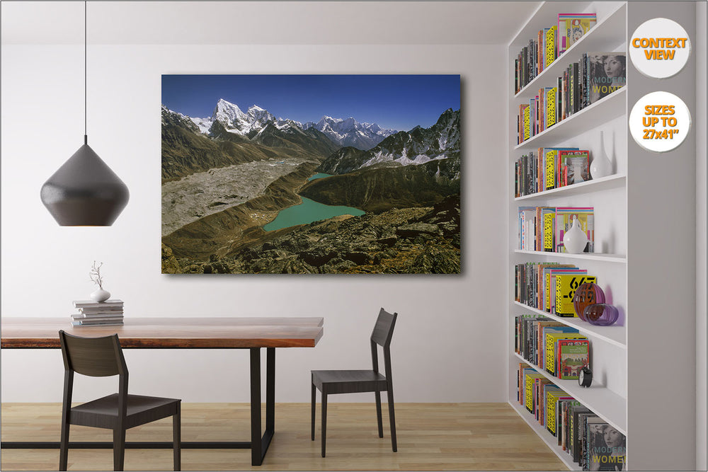 Aerial view from Gokyo Lakes, Himalaya, Nepal. | Dining room verison.