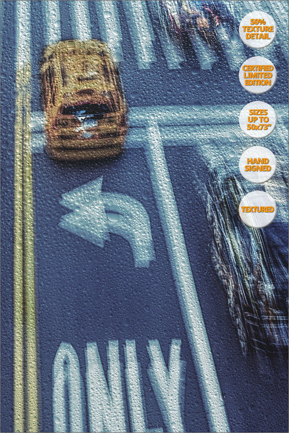 Taxis under the Rain, New York. | View of the Print at 50% magnification detail.