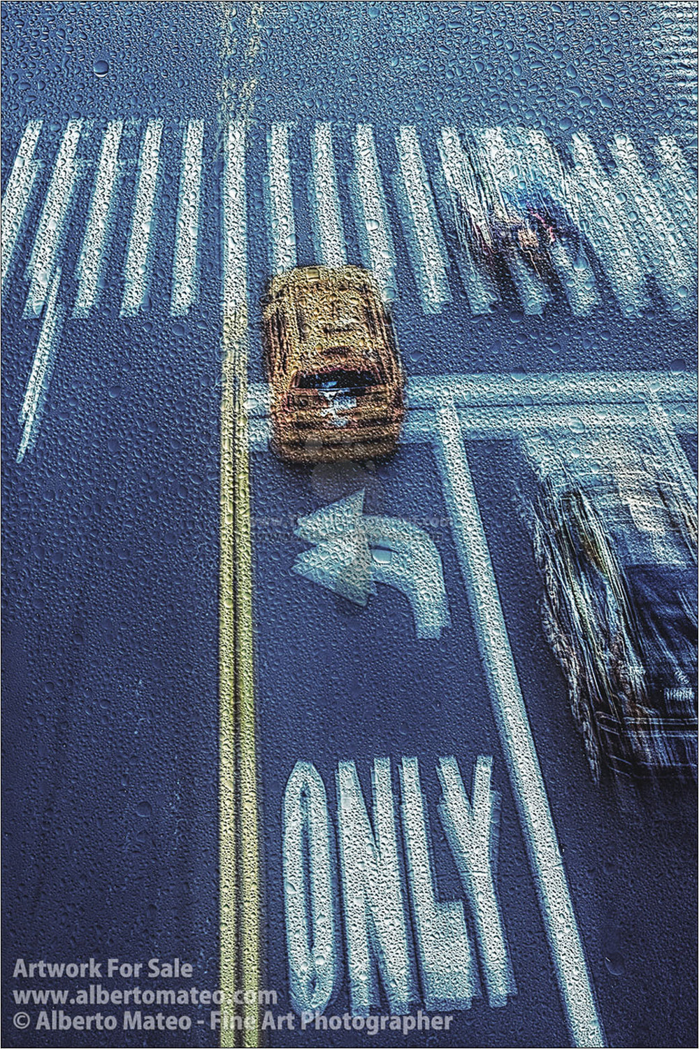 Taxis under the Rain, New York. | Limited Edition Fine Art Print.