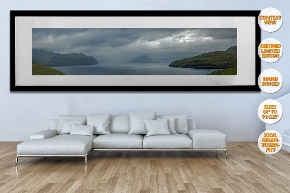 Mykines Island Panorama, Faroe Islands. | Framed Print hanged in meeting room.