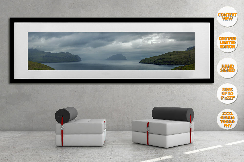 Mykines Island Panorama, Faroe Islands. | Framed Print hanged in office.