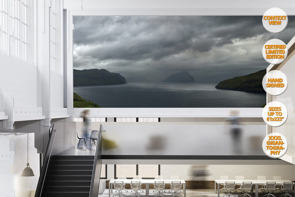 Mykines Island Panorama, Faroe Islands, North Atlantic. | Giant Print hanged in office.