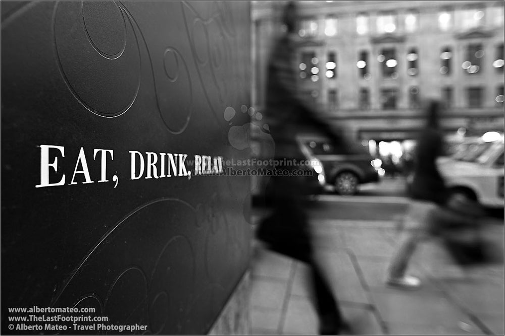 "Series of Four Prints: ""Eat, Drink, Relax"", London, United Kingdom."