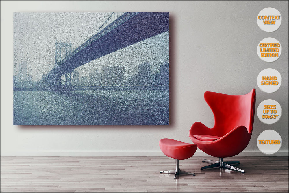 Manhattan Bridge under the rain, New York. | Print hanged in office.