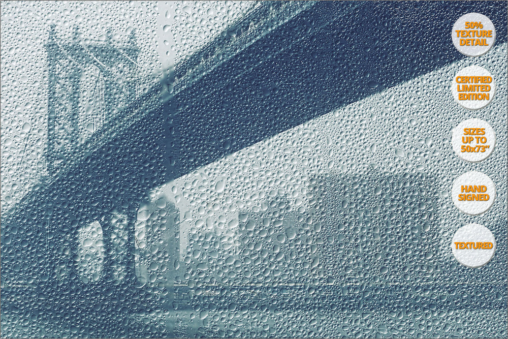 Manhattan Bridge under the rain, New York. | 50% Magnification Detail.