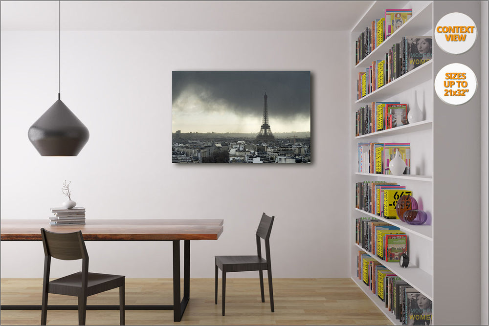 Storm over the Eiffel Tower, Paris, France. | View of the Print hanged in reading Room.