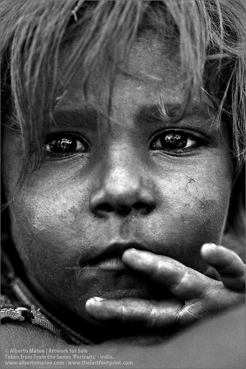 Portrait of small girl, Jharia, India. [B&W]