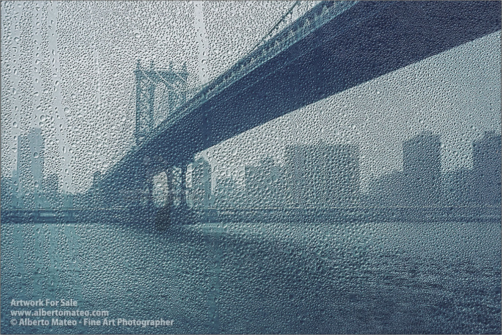 Manhattan Bridge under the rain, New York. | Limited Edition Print.