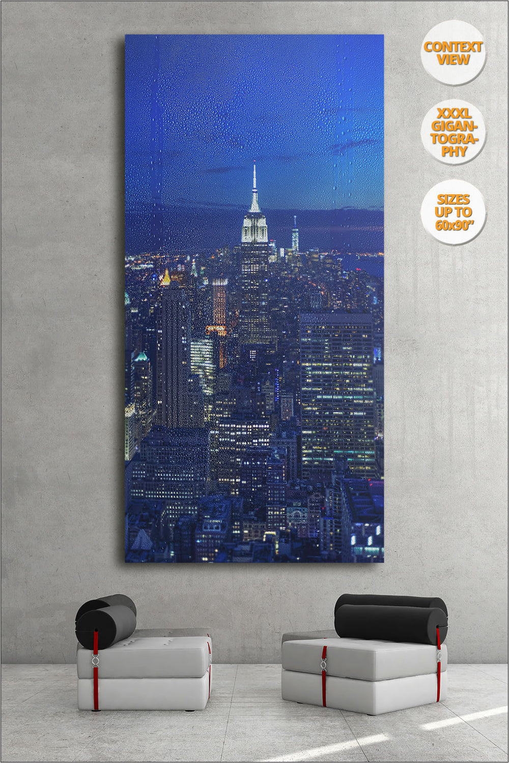 The Empire State at dusk, Manhattan, NYC. | Giant Print hanged in office.