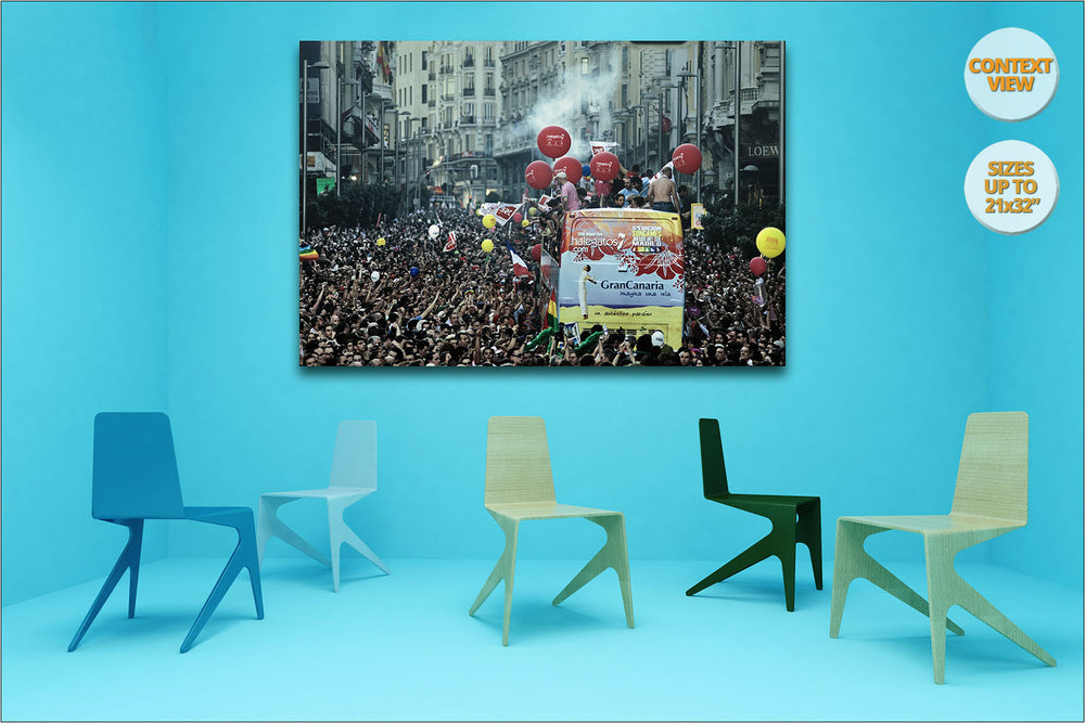 Gay Pride Parade, Gran Via, Madrid, Spain. | Print hanged in meeting room.