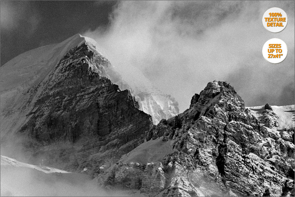 Mount Thorung Peak from Letdar, Himalaya. | 100% Magnification Detail View of the Print.