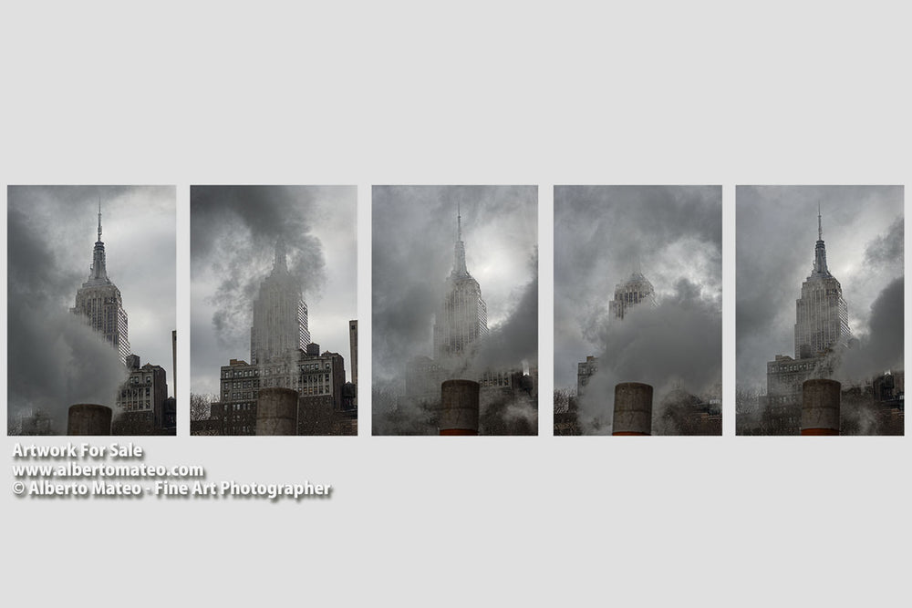 Steam under the Empire State (Series of 5), New York. | Series of Five Prints.