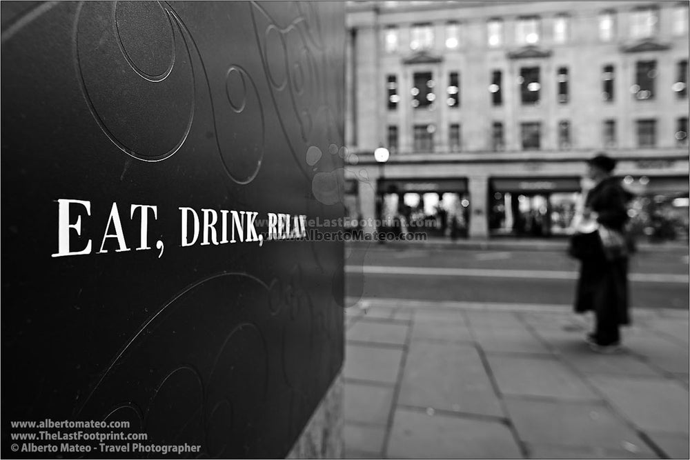 Eat, Drink, Relax, London, United Kingdom. | General view of the Print.