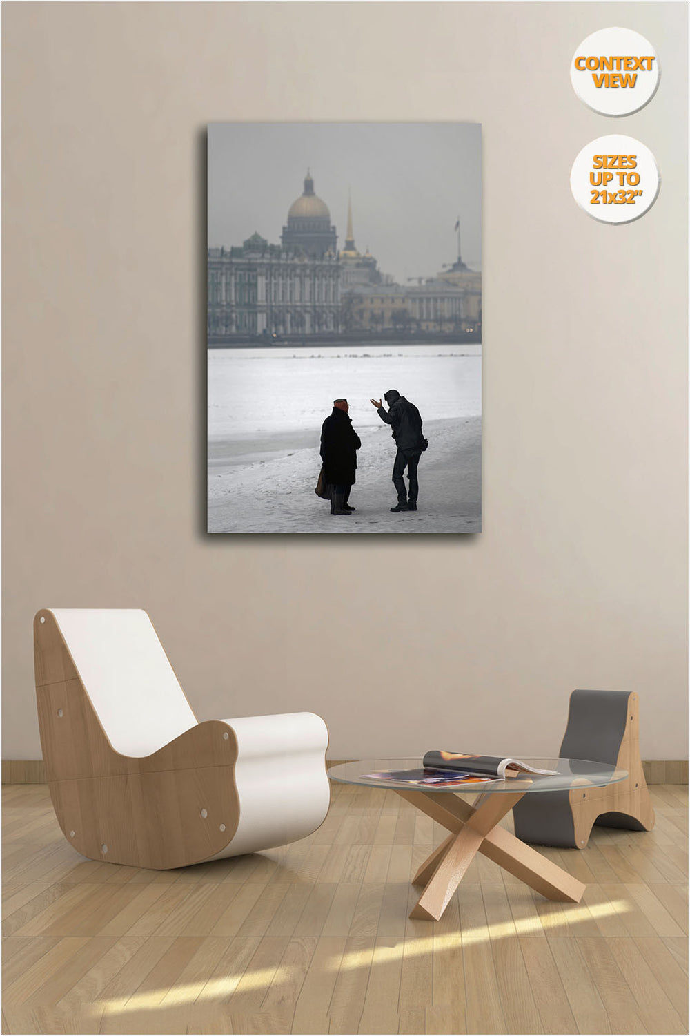 Pedestrians chatting over Frozen Neva River, St. Petersbourg. | Open Edition Print.