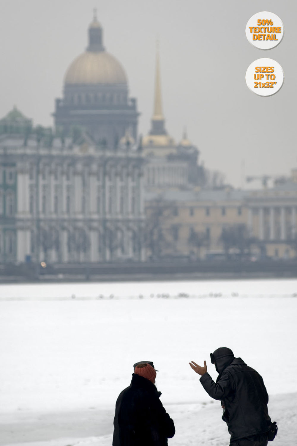 Pedestrians chatting over Frozen Neva River, St. Petersbourg. | 50% Print Detail.