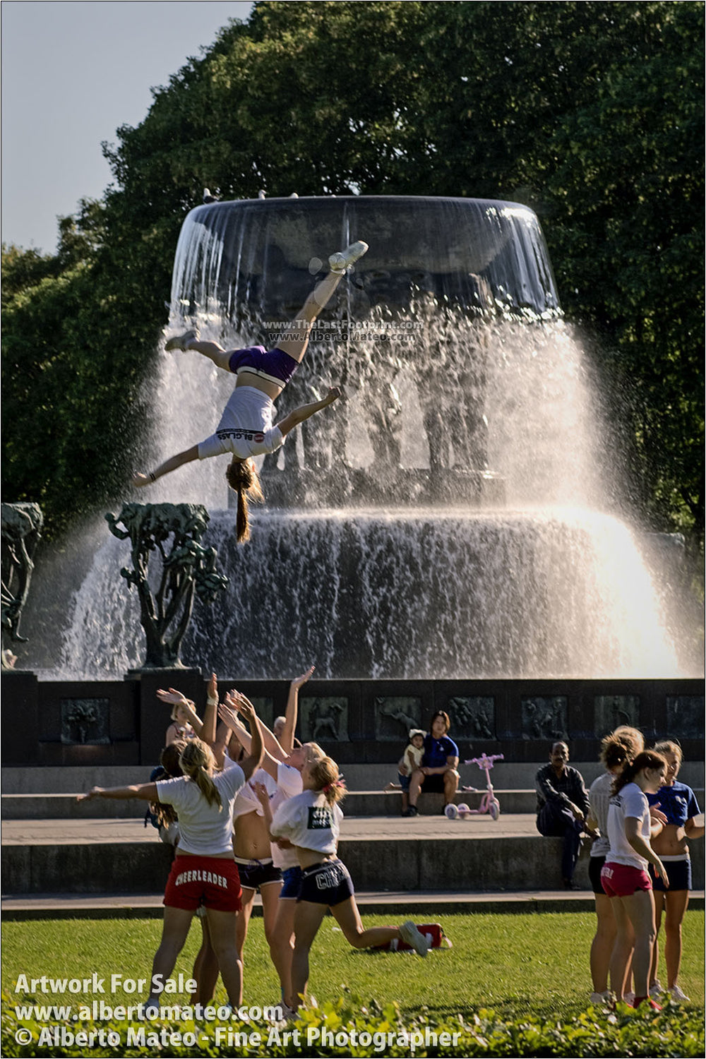 Cheerleaders training, Vigeland Park, Oslo, Norway.