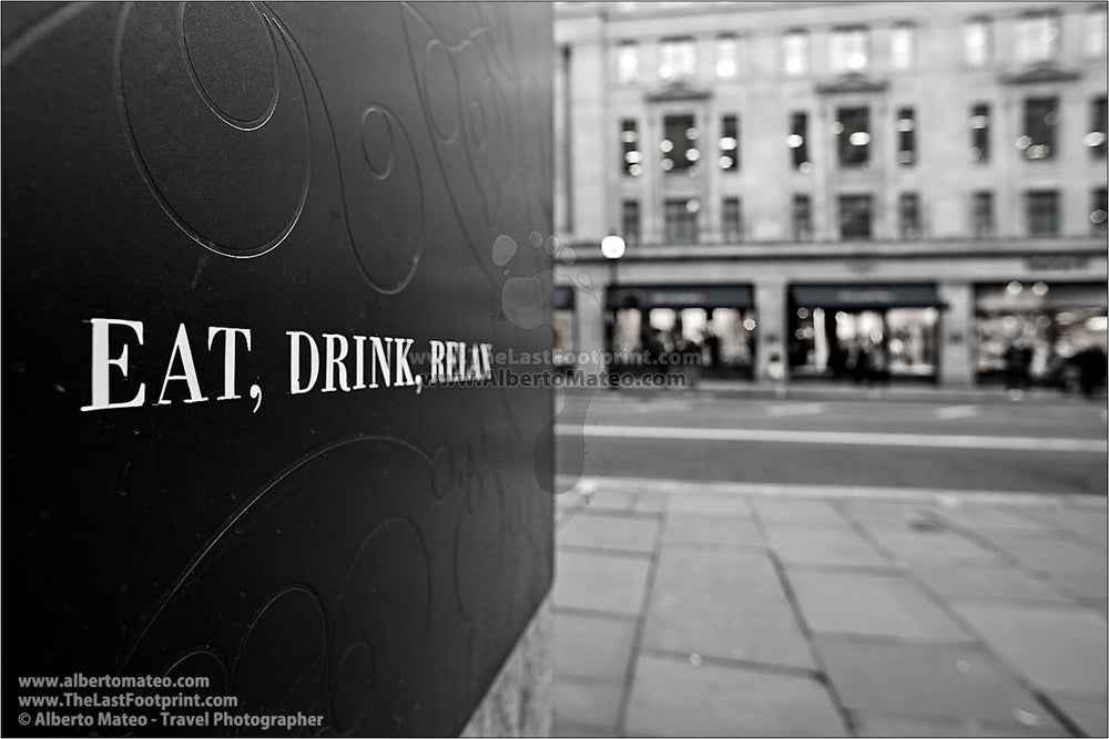 Eat, Drink, Relax, London, United Kingdom. Series of 4 Prints.