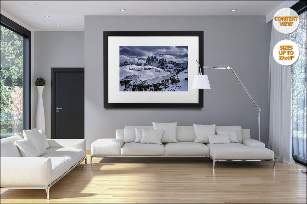 Misurina Range in Winter, Dolomiti, Italy.  | View of the framed print hanged in living room.