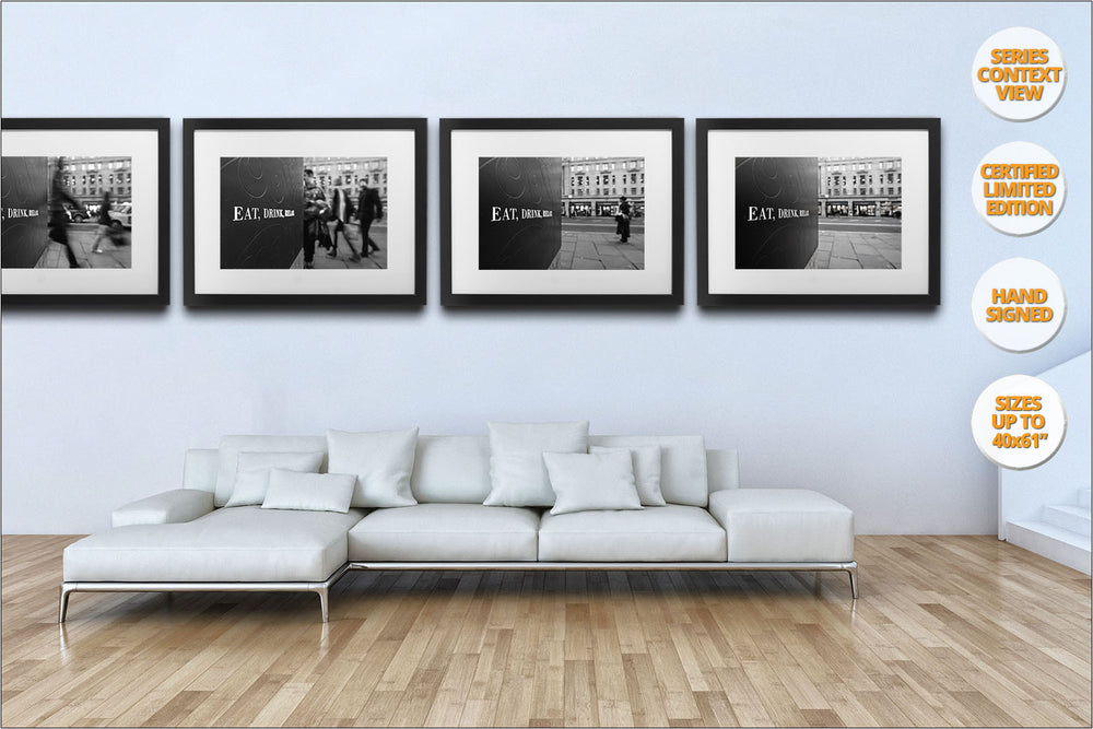 Eat, Drink, Relax, London, United Kingdom. | Series hanged in living room.