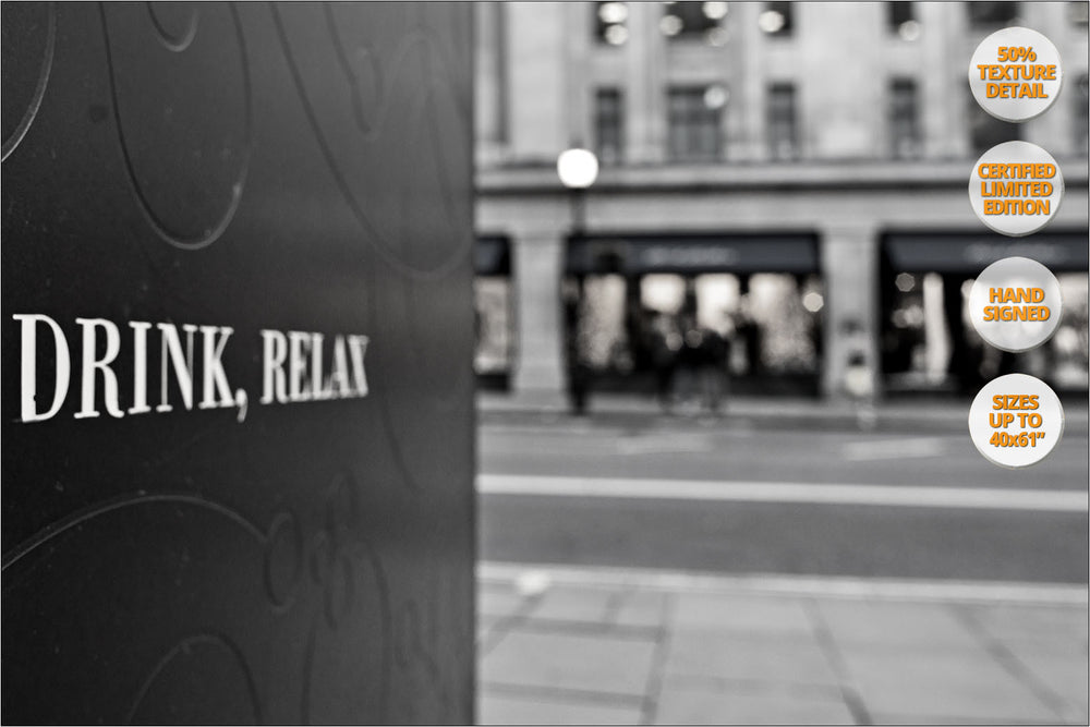 Eat, Drink, Relax, London, United Kingdom. | Series of Four Prints. | Detail view.