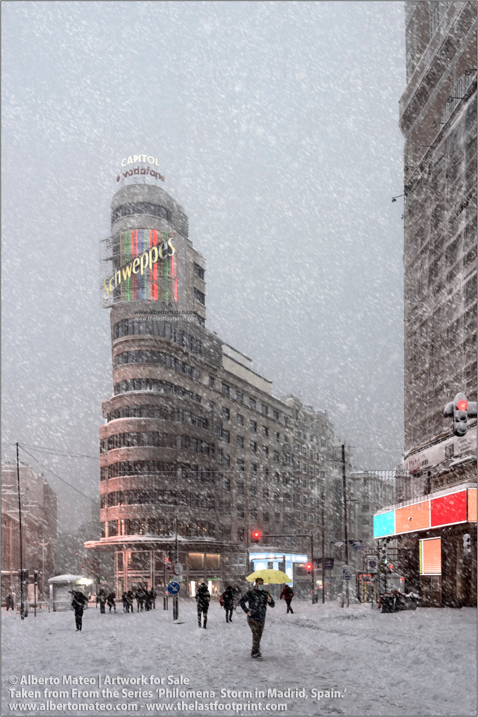 Edificio Capitol in Gran Via during Filomena Winter Snow Storm, Madrid, Spain.