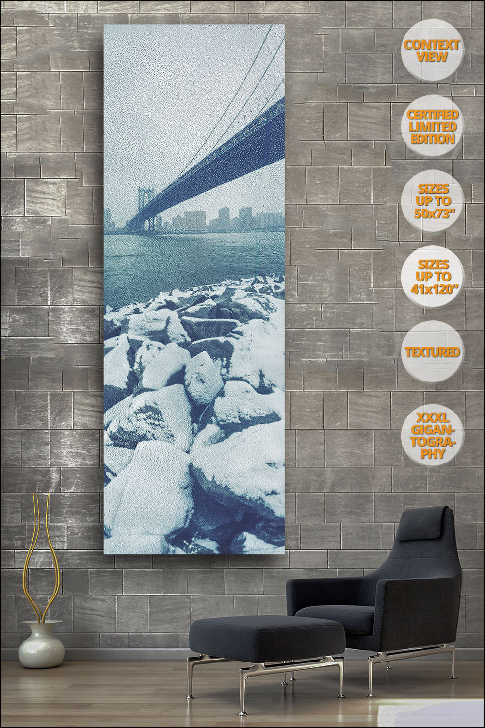 Manhattan Bridge in Blizzard, Winter, New York. | View of the Print hanged in Reading Room.