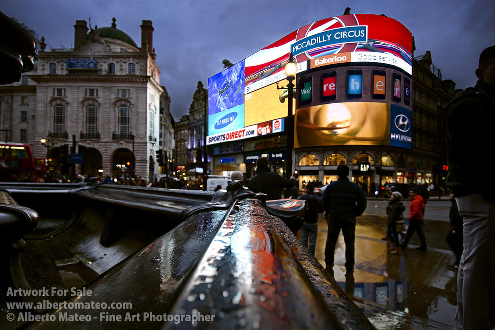 The neons of Piccadilly Circus at dusk, London. | Unlimited Edition Fine Art Print.