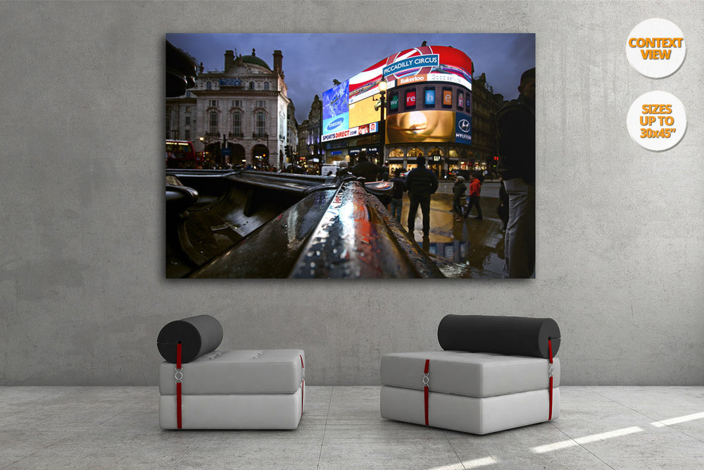 The neons of Piccadilly Circus at dusk, London. | Print hanged in office.