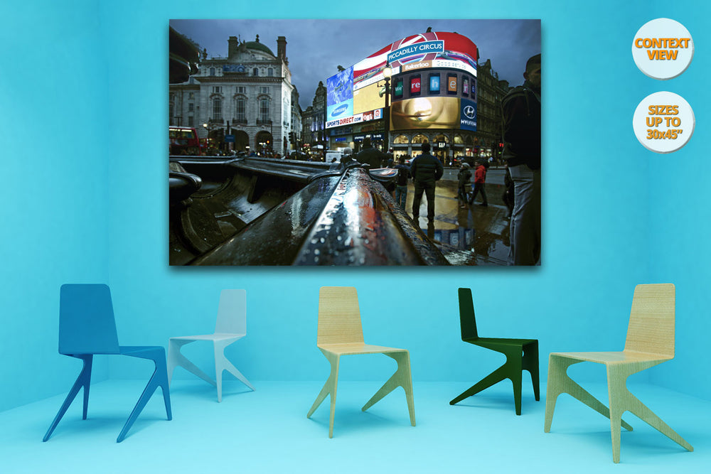 The neons of Piccadilly Circus, London, UK. | Print hanged in meeting room.