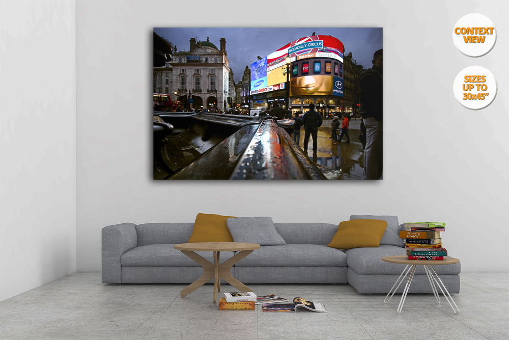 The neons of Piccadilly Circus, London, UK. | Print hanged in living room.