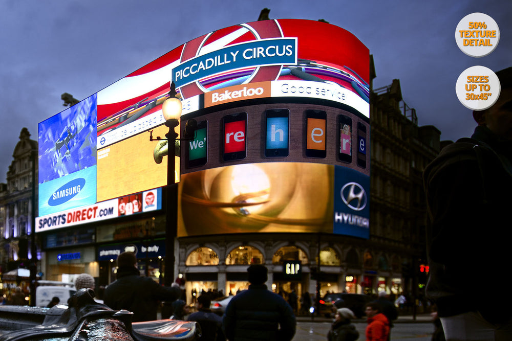 The neons of Piccadilly Circus, London, UK. | View of the Print at 50% magnification detail.