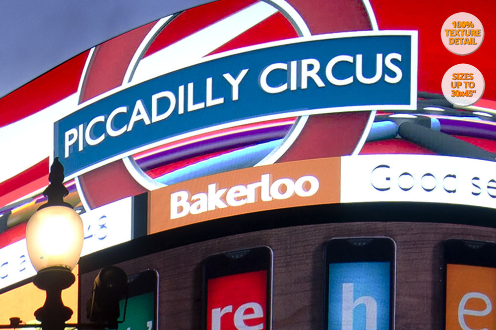 The neons of Piccadilly Circus, London, UK. | 100% magnification detail.