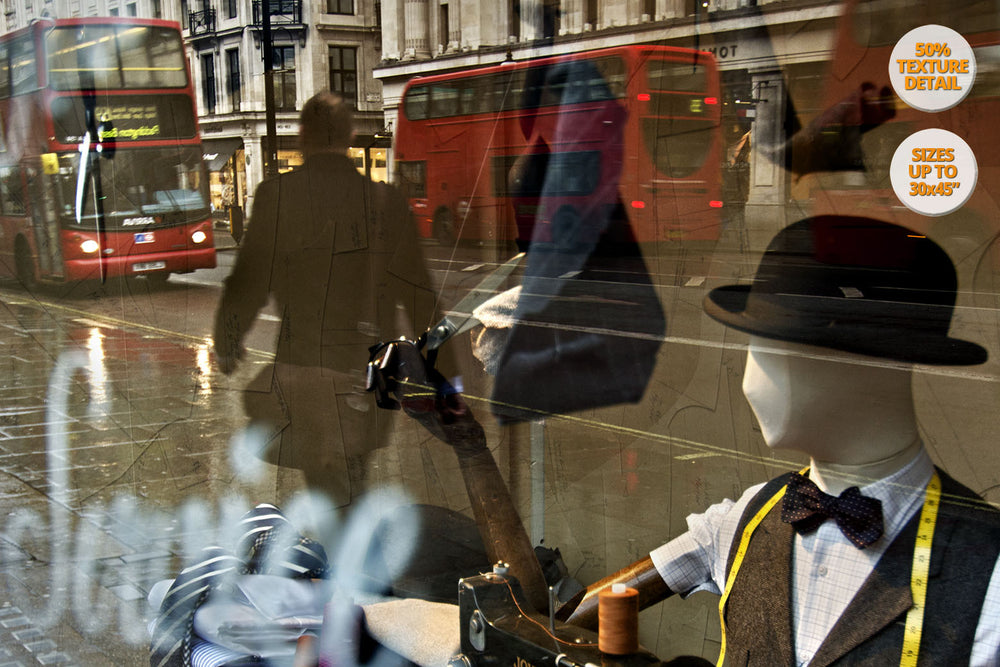 Reflections in the Regent Street, London, UK. | View of the Print at 50% magnification detail.