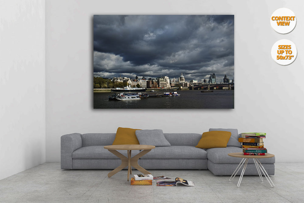 River Thames, Saint Paul Cathedral, London, United Kingdom. | Print hanged in living room.