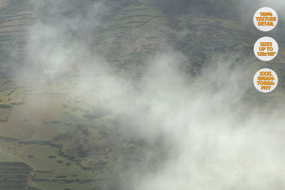 Fog in Bac Ha Mountains, Vietnam. | View of the Print at 50% magnification detail.