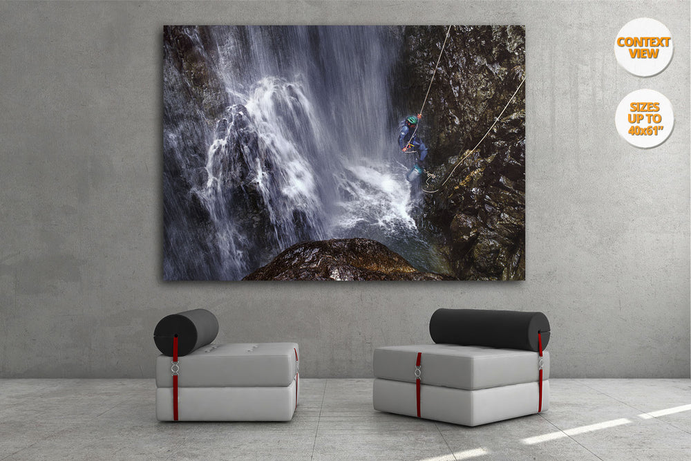 Great waterfall in Caldares Canyon, Pyrenees, Spain. | Living room view.