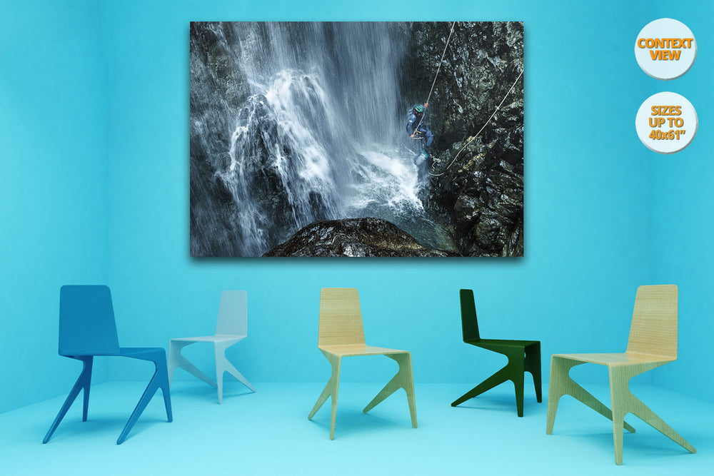 Great waterfall in Caldares Canyon, Pyrenees, Spain. | Hanged in meeting room.