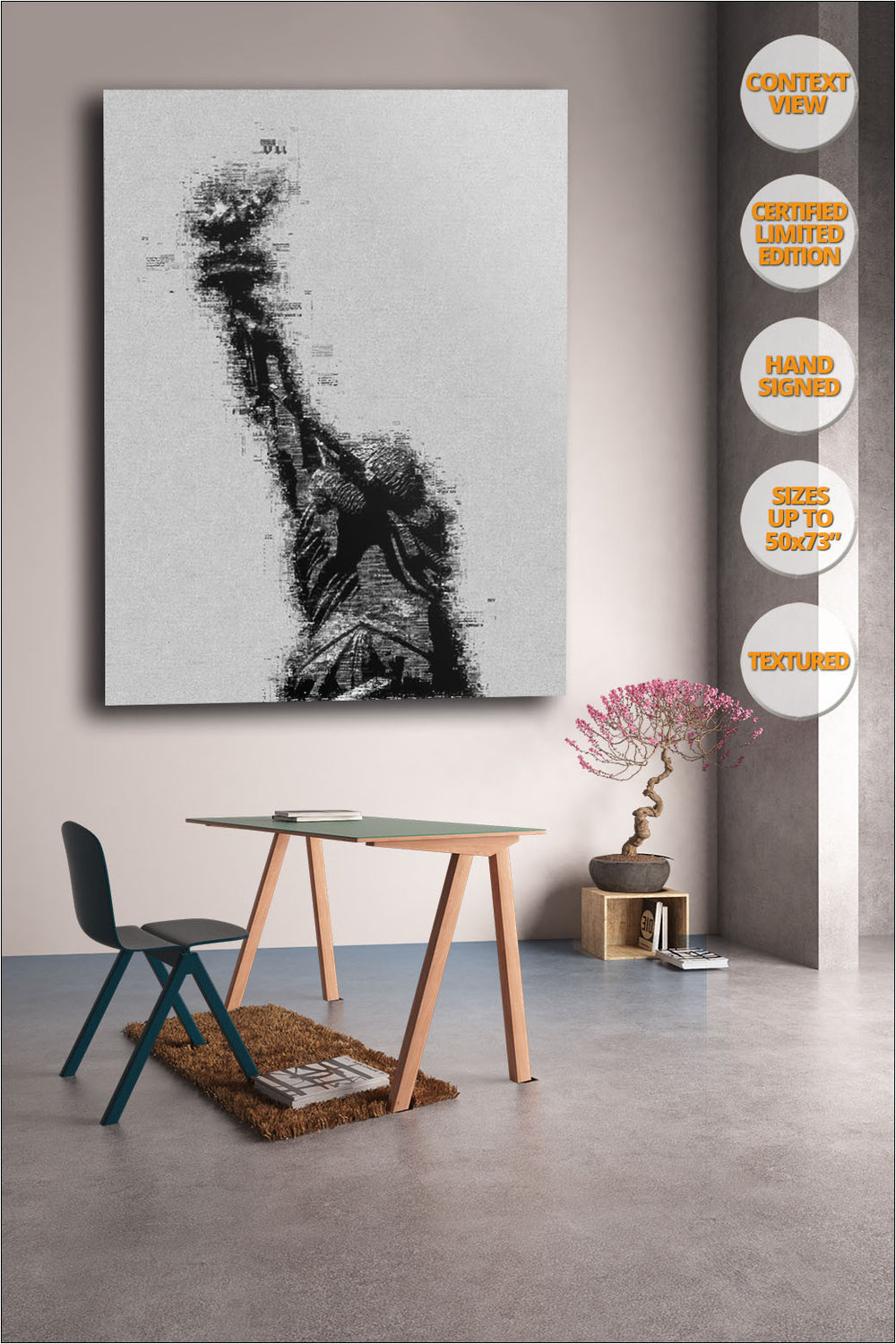 The Statue of Liberty, Manhattan, New York. | Print hanged in bedroom.