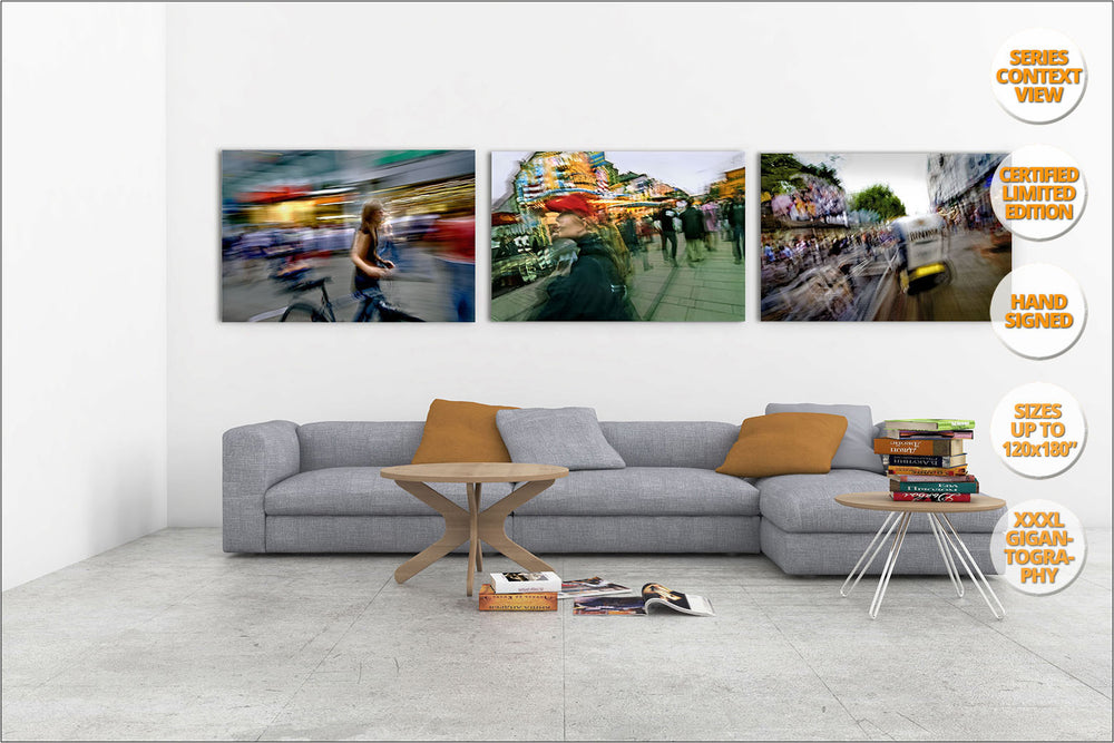 Hauptwache, main commercial street in Frankfurt. | Series hanged in living room.