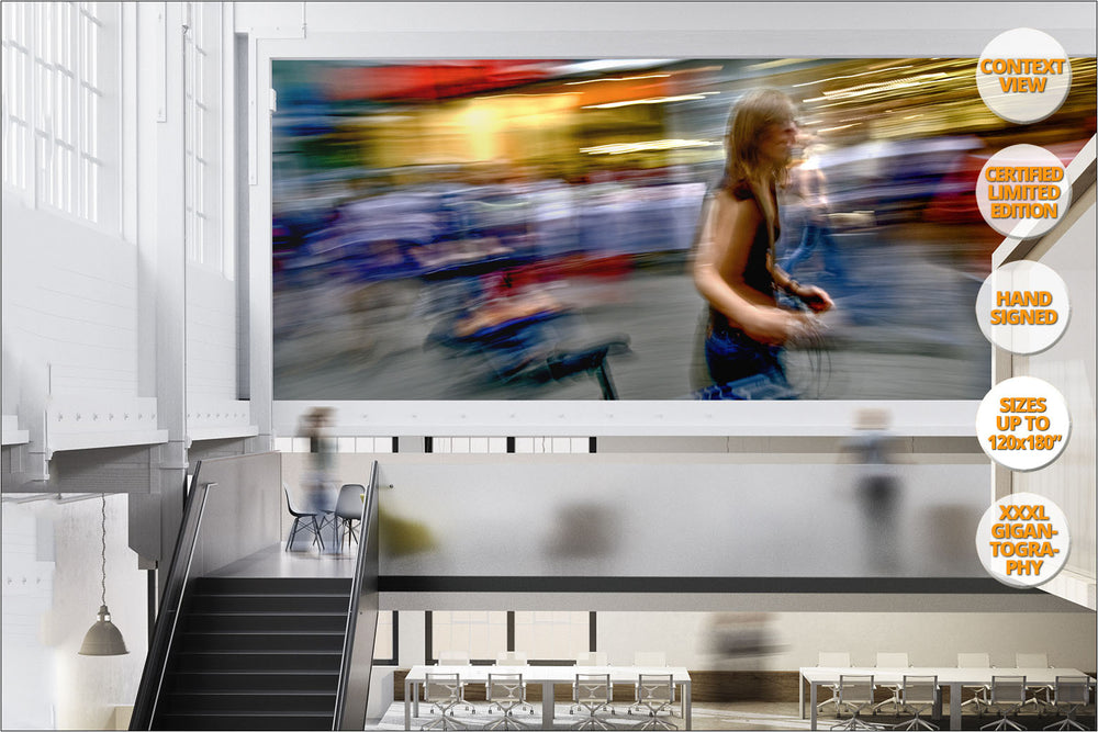 Woman with bicycle in Hauptwache, Frankfurt, Germany. | Giant Print hanged in office.