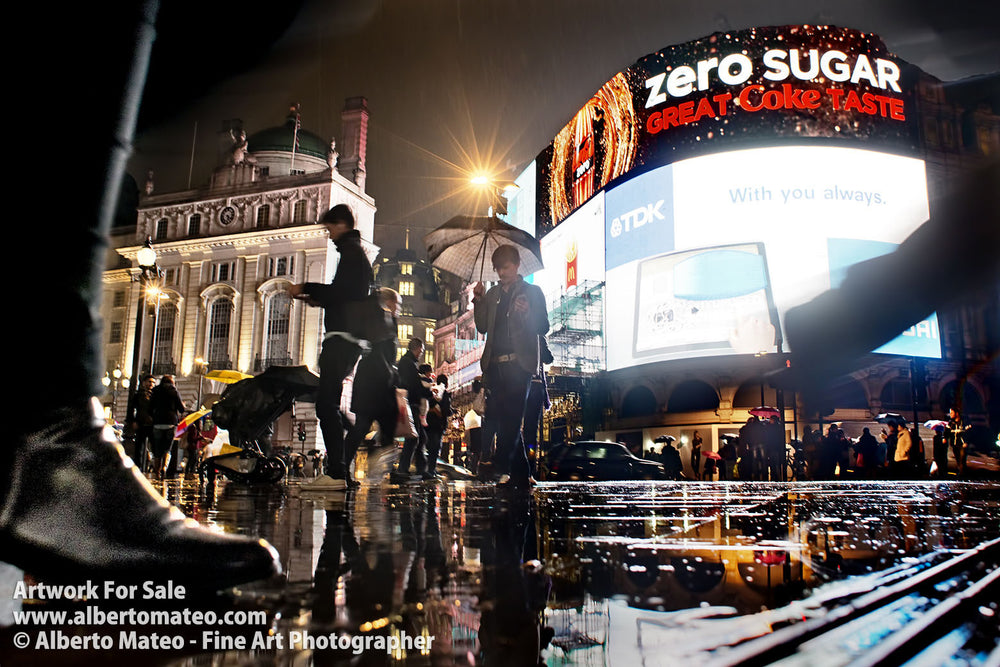 Rain in Piccadilly Circus, London. | Open Edition Fine Art Print.