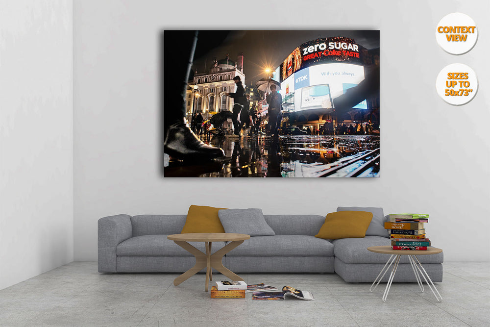 Rain in Piccadilly Circus, night, London. | View of the Print hanged in Living Room.