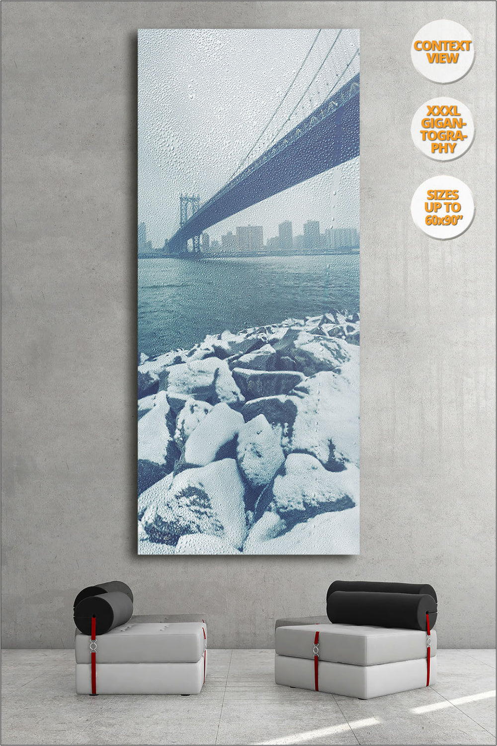 Manhattan Bridge in Blizzard, New York. | View of the Print hanged in Living Room.