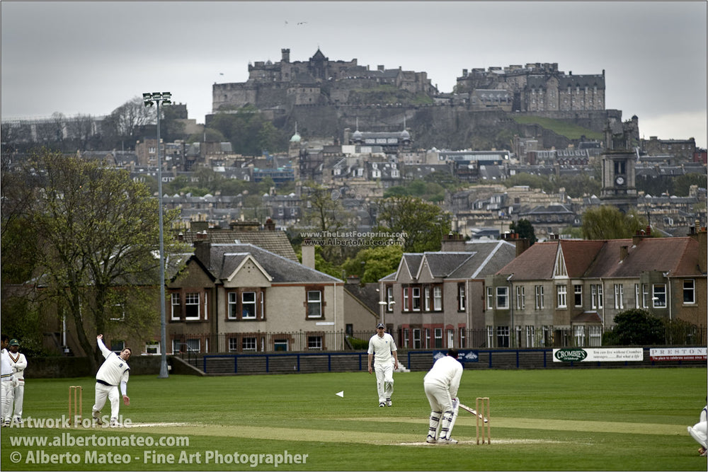 Cricket match under Edinburgh's Castle, Scotland. | FIne Art Print.