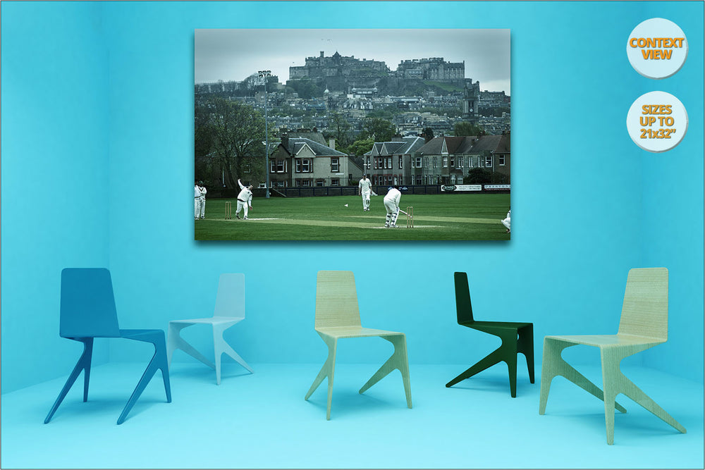 Cricket match under Edinburgh's Castle, Scotland. | Print hanged in Meeting Room.