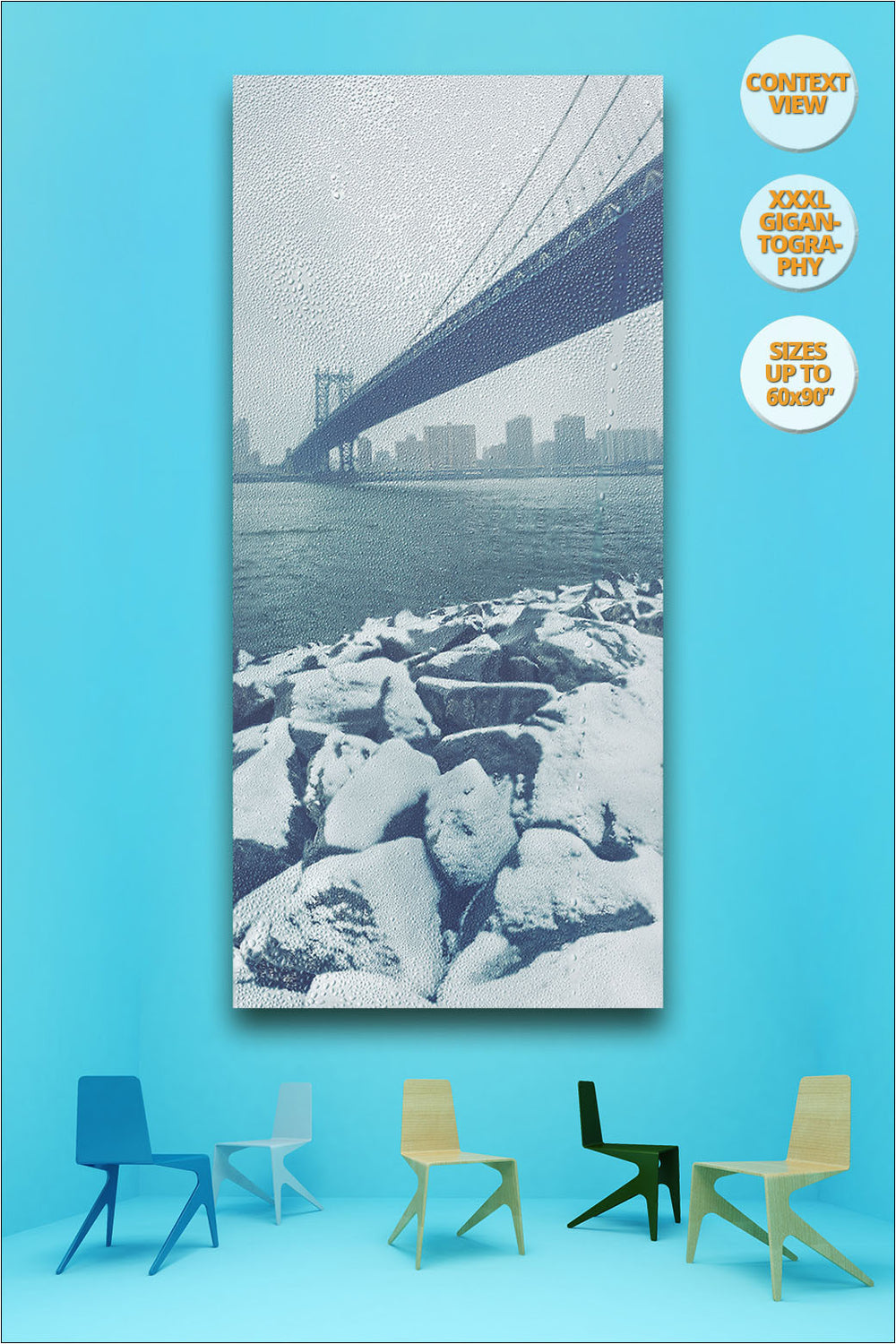 Manhattan Bridge in Blizzard, Winter, New York. | View of Giant Print hanged in office.
