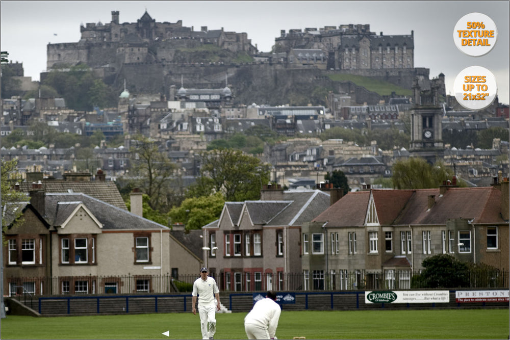 Cricket match under Edinburgh's Castle. | FIne Art Photography.